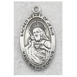 Sacred Heart of Jesus Medal - Sterling Silver - 1 Inch with 24 Inch Chain