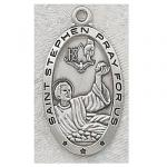 St. Stephen Medal - Sterling Silver - 1 Inch With 24 Inch Chain