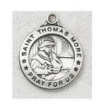 St. Thomas More Medal - Sterling Silver - 3/4 Inch with 20 Inch Chain